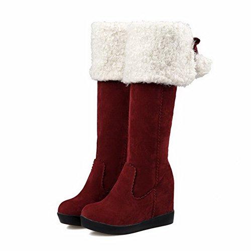 VogueZone009 Damen Hoher Absatz Mattglasbirne Reißverschluss Stiefel Rot