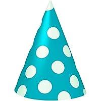 takestop® SET 36 PEZZI CAPPELLO cono POIS azzurro CAPPELLINO IN CARTA  MONOUSO PER FESTA COMPLEANNO 2be9ac9b9d47