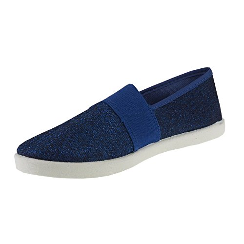 Textil 20011 effekt Damenschuhe Royalblau Slipper Metallic Stoffschuhe Damenslipper Fashion4young vqvxX0a