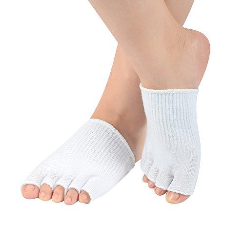 SOUMIT Zehenspreizer Socken | Unsichtbare Weich Silikon-Gel Fußmassage Socken, Halb Atmungsaktive Baumwolle Socken für SPA Whitening und Feuchtigkeitsspendende Füße Haut (Weiß)