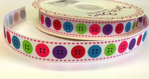 Scrapbooking Ribbon Bow (1M Bright Button Print Ribbon. Decorative Ribbon For Sewing, Gift Wrapping, Card Making, Crafts and Scrapbooking. by Bertie's Bows)