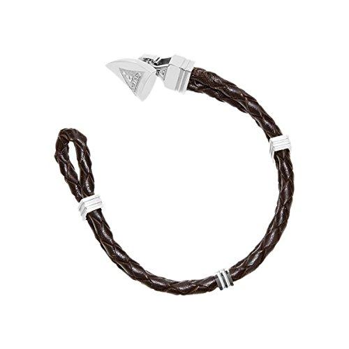 Guess Bracciale per uomo Ocean Tripe acciaio inox/pelle marrone/argento, taglia unica
