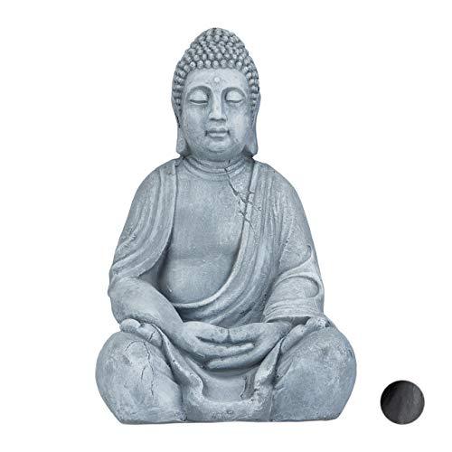 Relaxdays XL Buddha Figur sitzend, 50 cm hoch, Feng Shui, Outdoor, Garten Dekofigur, große Zen Buddha Statue, hellgrau -