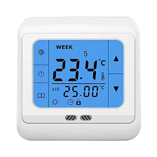 Wöchentlicher programmierbarer LCD-Touchscreen-Raumheizungs-Thermostat mit 24 V / AC Digitaler Temperaturregler für Wasserkühler-Heizsystem -