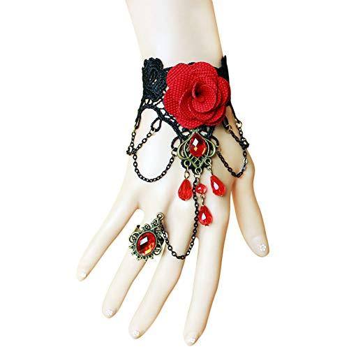 Topdo 1 Pieza Pulsera de Encaje gótico con Anillo de Ajustable con Elegante Flor Pulsera y Anillo de Rhinestone para Boda Cosplay Joyas Rojo 13cm+7cm