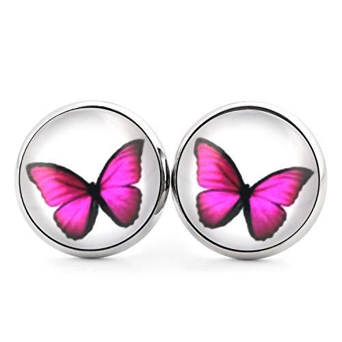 Kostüm Mädchen Süßeste - SCHMUCKZUCKER Damen Mädchen Ohrringe Motiv Schmetterling Edelstahl Ohrstecker Silber Weiß Pink 14mm