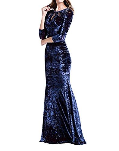 ISSHE Elegante Samt Festliche Damen Abendkleid Cocktailkleid Bodycon Long Maxi Navy Kleider