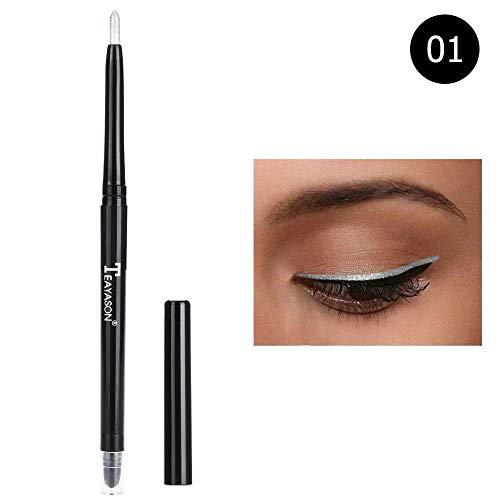 TEAYASON Lidschatten Eyeliner Stift Textmarker Bleistift Glitzer Wasserdicht Augen Makeup Tool(Silber-) -