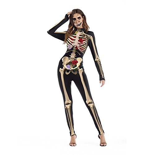 YOU LOOK UGLY TODAY Halloween Kostüm Damen Skelett X-Ray Jumpsuit Ganzkörperanzug Overall Karneval Verkleidungsparty Cosplay