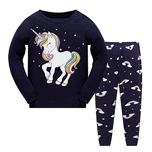 MIXIDON Niña Pijamas Unicornio Infantil Verano Ropa Chica Manga Corta (7-8 años, Unicornio4)
