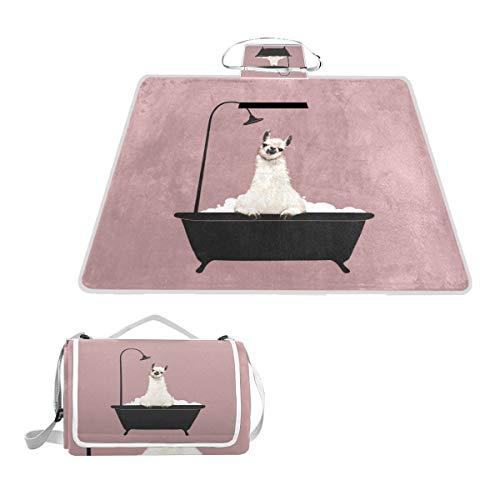 Sotyi-ltd Llama in der Badewanne, Picknick-Matte für den Strand, Wandern, Camping, Park Gras, groß, 144,8 x 149,9 cm