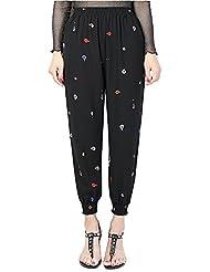 las Mujer Harem Pantalones anchos con Estampado Pantalones Talle Alto Cintura Elástica XXL 7