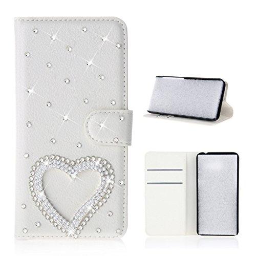 Meizu Pro 7 Hülle, PU-Leder Handytasche Brieftasche Shell Strass-Design Handyhülle Flip Stand Stoßfestes Telefon Folio Cover mit Magnetver schluss für Meizu Pro 7 (Love Heart)