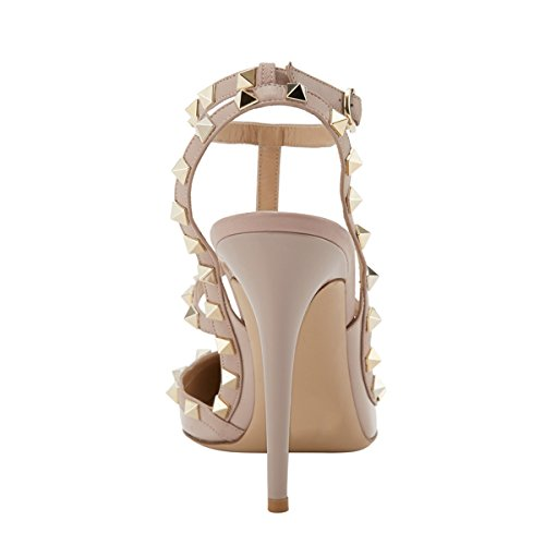 EKS Women's Pointed Toe Rivets Straps Strappy Stilettos Pump Heels Dress Party Sandals Patent Apricot 42 EU