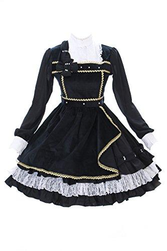 Victorian Samt (JL-644-1 schwarz Samt Chiffon Rüschen Spitze langarm Kleid Victorian Classic Gothic Lolita Kostüm dress Cosplay Kawaii-Story (Gr. L))