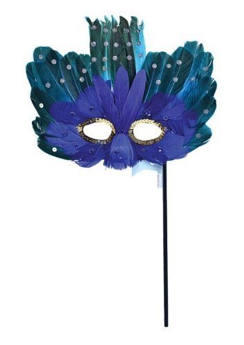 Eye Mask! Masquerade! Peacock Fancy dress! on Stick by Bristol Novelty (Masquerade Mask-sticks)