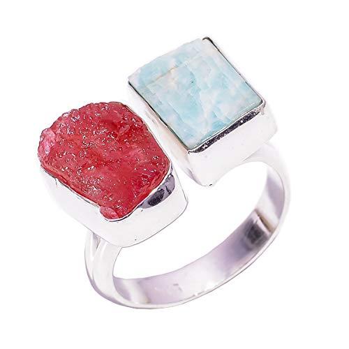 Lavie jewelz anello in argento sterling 925 con due pietre, misura uk r 1/2 regolabile, amazzonite grezza naturale, gioielli fatti a mano da donna rsr2803