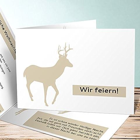 Einladungskarte Weihnachtsfeier, Bock 55 Karten, Horizontale Klappkarte 148x105 inkl. weiße Umschläge, Braun