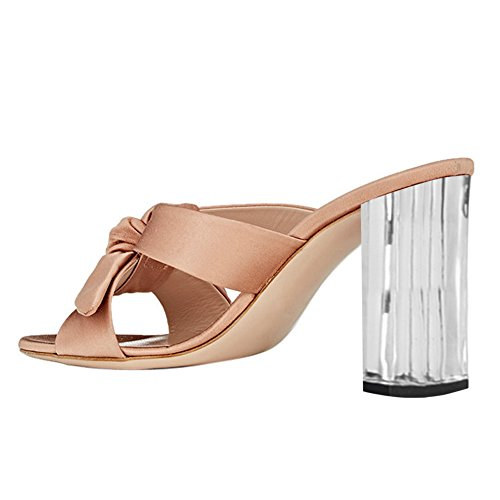 Damen Peep Toe Bowknot Satin Sandalen High-Heels Transparent Blockabsatz Pink