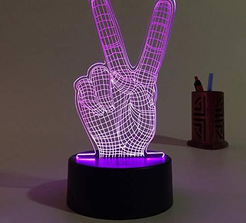 Victory finger 3d night light 3d lampada a led torcia colorata per il campione decorazione natalizia per la casa