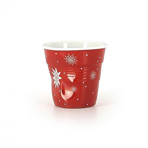 Revol - Gobelet froissé rouge fleur de Noël 8cl