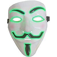 Inception Pro Infinite ♛ Máscara para Disfraz Traje Carnaval Halloween De V para Vendetta Anonymous con LED Brillante Verde Adultos Unisex Mujer Hombre Muchachos