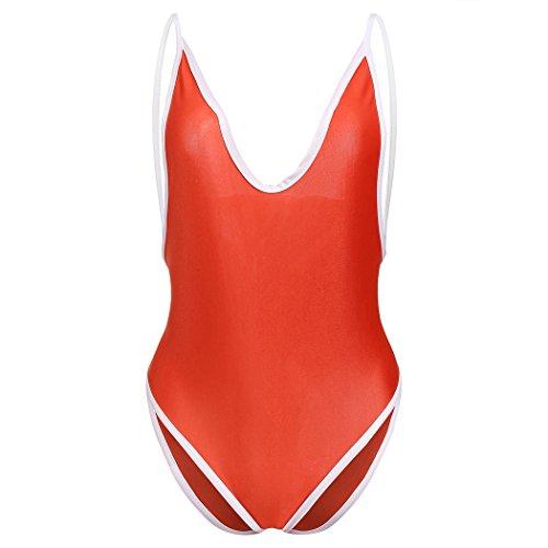 cooshional Sexy V-Ausschnitt Swimwear Swimsuit Bademode Badeanzug Monokini Bikini Rot