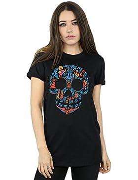 Disney Mujer Coco Skull Pattern Camiseta del Novio Fit