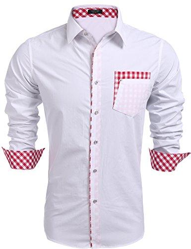 Kontrast Kragen Kleid Shirt (Coofandy Herren hemd regular fit Kontrast Innen Langarm Freizeithemd Kleid Shirts (M, White))