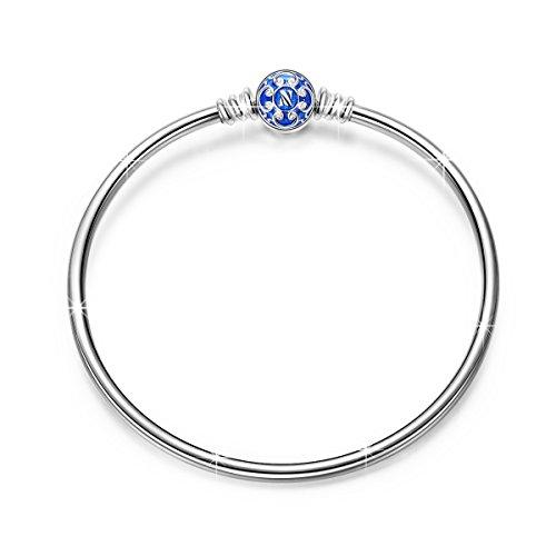 Ninaqueen bracciale da donna argento sterling 925 blu per charms bead regalo compleanno natale san valentino festa della mamma regali anniversario per moglie figlia madre