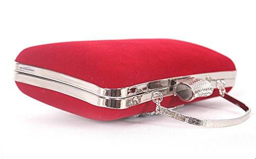Damen Abendkleider Paket Diamantperle Abendessen Bankett Samt Handtasche Bankett-Paket rose red