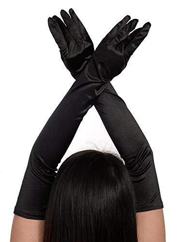 1920er Opera Handschuhe Satin Lange Ellenbogen Länge Handschuhe Erwachsene Größe für Frauen (schwarz) -