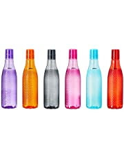Amazon Brand – Solimo Plastic Fridge Bottle Set (6 pieces, Checkered pattern, Multicolor)