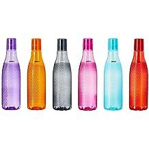 Amazon Brand – Solimo Plastic Fridge Bottle Set (6 pieces, 1L, Checkered pattern, Multicolour)