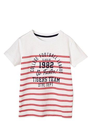 Vertbaudet T-Shirt für Jungen, Streifen Oder Print Weiß/Rot Gestreift 158/164 (Shirt Gestreift Rot Jungen)
