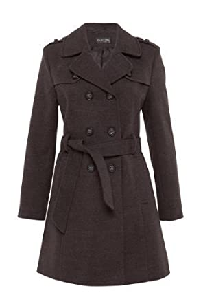 De La Crème - Women's Military Winter Ladies Faux Wool Trench Coat ...