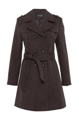 De La Creme - Damen Mantel Militär-Stil Zweireiher Trench Coat Kunstwolle, Grau, 48