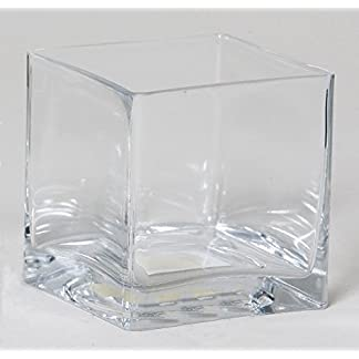 INNA-Glas Maceta KUNO, Cuadrada, Transparente, 20x20x20cm – Jarrón de Cristal – Florero Decorativo