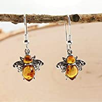 Sterling Silver & Natural Baltic Honey Amber BUMBLE BEE Drop Earrings