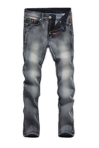 Brinny Homme Femme Lovers Used Denim Blouson Vintage élastique Short Jacket Tops manches longues Slim Fit Gris & Noir Gris