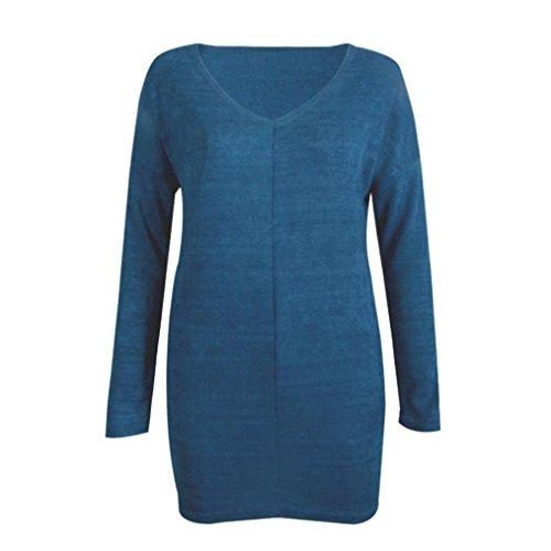 LUVERSCO Damen  Beiläufig Lange Ärmel V-Ausschnitt Jumper Pullover Mantel Bluse (Blau, S) (Stricken Lange Schal Logo)
