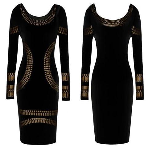 Top Fashion Damen Kleid, Geblümt Schwarz schwarz