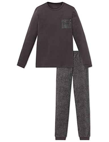 Schiesser Jungen Zweiteiliger Schlafanzug Anzug lang, Schwarz (Espresso 004), 140 (Herstellergröße: XS)
