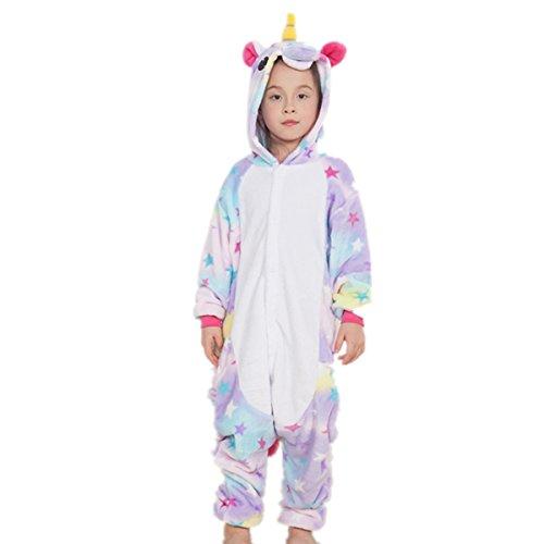 misslight Unicorno Pigiami Animali Pigiami Pigiama Donne Tute Tostumi Vestito Indumenti con Unicorno Festa Costumi opportunamente Adulti (Bambini 115, Bambini Stella)