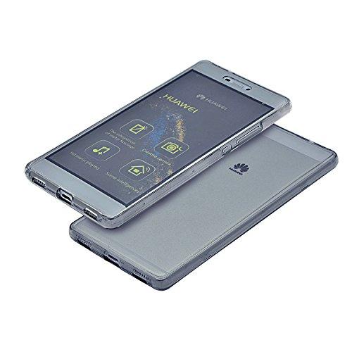 Vandot Huawei P8 Lite Coque de Protection Etui Transparent Antidérapant Pour Huawei P8 Lite Etui Protection Dorsale Étui Slim Invisible Housse Cover Case en TPU Gel Silicone Hull Shell-Blanc Transparent-Noir