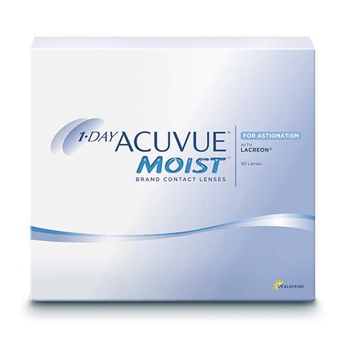 Acuvue 1-Day Moist for Astigmatism, torische Tageslinsen weich, 90 Stück / BC 8.5 mm / DIA 14.50 / CYL -0.75 / ACHSE 180 / -1.25 Dioptrien