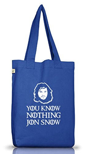 Shirtstreet24, You Know Nothing, Jutebeutel Stoff Tasche Earth Positive (ONE SIZE) Bright Blue