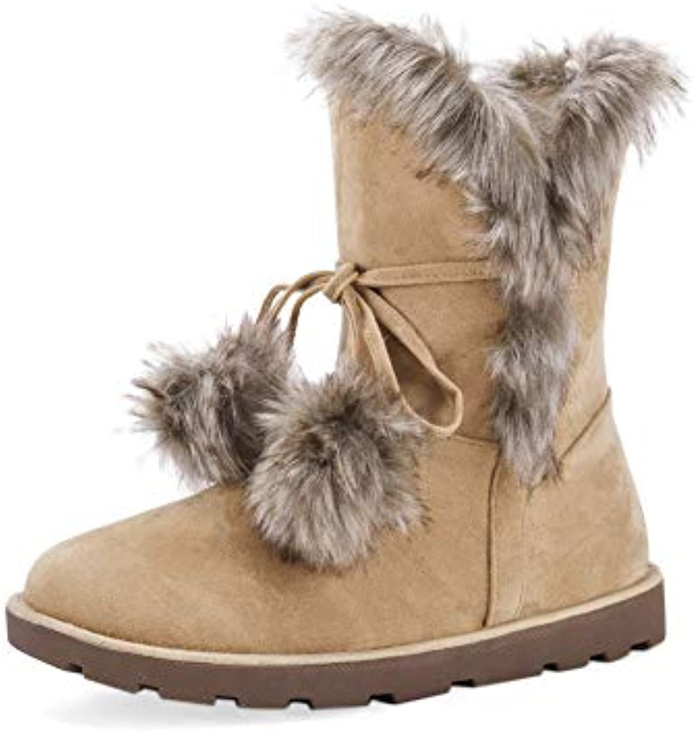 fa235a939461 NEOKER Winter Ankle Snow Boots Suede Womens Warm Lined 25423 Faux Fur Lined  Suede Leather Lightweight Casual Shoes Slip On Ladies.