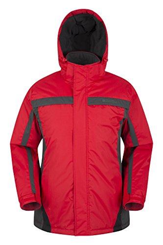 Mountain Warehouse Chaqueta de esquí Dusk para hombre - Chubasquero resistente al agua, forro de felpa, abrigo con faldón antinieve para hombre, puños y capucha ajustables Rojo M