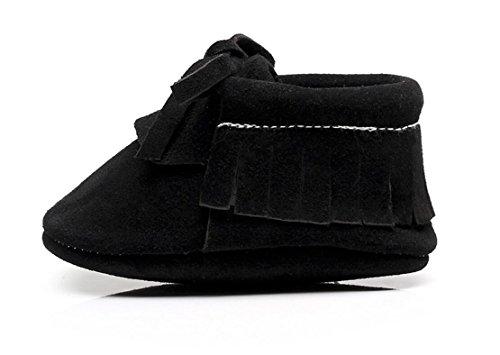 Backbuy Confortables Chaussons Pour Bébé à Cuir Nubuck Lacets Up Chaussures Premiers Pas Filles Noir